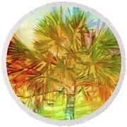 Palm Tree Portrait Round Beach Towel