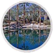 Palm Tree Reflections Round Beach Towel