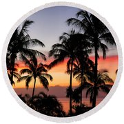 Palm Tree Silhouettes Round Beach Towel