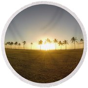 Palm Tree Sunset Round Beach Towel
