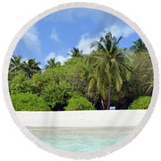 Palm Trees And Exotic Vegetation On The Beach Of An Island In Maldives Round Beach Towel