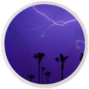 Palm Trees And Spider Lightning Striking Round Beach Towel