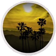 Palm Trees At Sunset With Mountains In California Round Beach Towel