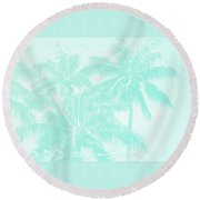 Palm Trees Hawaii Tropical Cyan Round Beach Towel