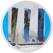 Palm Trees In Snowstorm Round Beach Towel