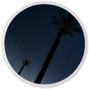 Palm Trees In The Early Morning Round Beach Towel