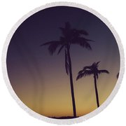 Palm Trees In The Morning Light Round Beach Towel