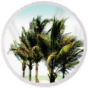 Palm Trees Ocean Breeze Round Beach Towel