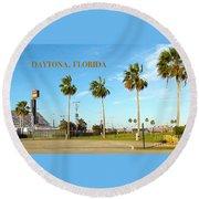 Palm Trees Of Daytona Florida Round Beach Towel