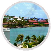 Palm Trees Of Oyster Bay Round Beach Towel