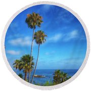 Palm Trees On The Pacific Round Beach Towel