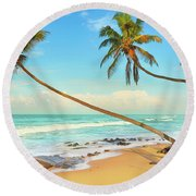 Palm Trees Over The Sea Round Beach Towel