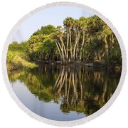 Palm Trees Reflections Round Beach Towel