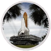 Palmetto Trees Frame Space Shuttle Round Beach Towel by Stocktrek Images