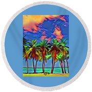 Palms 2 Round Beach Towel