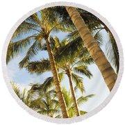 Palms Against Blue Sky Round Beach Towel