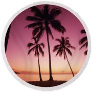 Palms Against Pink Sunset Round Beach Towel