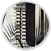 Palms And Columns Round Beach Towel