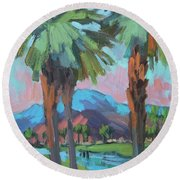 Palms And Coral Mountain Round Beach Towel