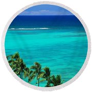 Palms And Ocean Round Beach Towel