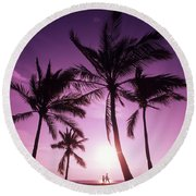 Palms And Pink Sunset Round Beach Towel