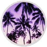 Palms And Purple Sky Round Beach Towel