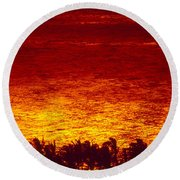 Palms And Reflections Round Beach Towel