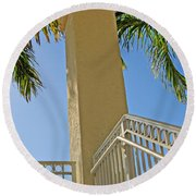 Palms And Stairs Round Beach Towel
