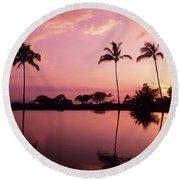 Palms At Still Lagoon Round Beach Towel