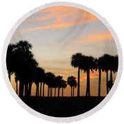 Palms At Sunset Round Beach Towel