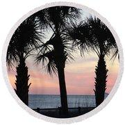 Palms At Sunset  Round Beach Towel