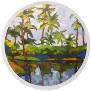 Palms Reflections Round Beach Towel