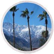 Palms With Snow Round Beach Towel