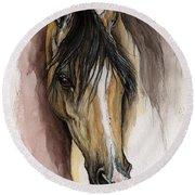 Palomino Arabian Horse Watercolor Portrait Round Beach Towel