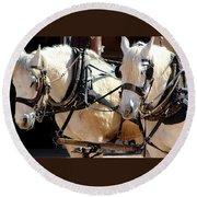 Palomino Horses Round Beach Towel