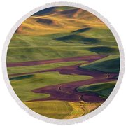 Palouse Hills Round Beach Towel