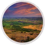 Palouse Skies Ablaze Round Beach Towel