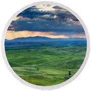 Palouse Storm Round Beach Towel
