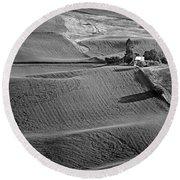 Palouse - Washington - Farms - 6 - Bw Round Beach Towel