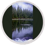 Pamelia Lake Reflection Round Beach Towel