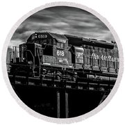 Pan Am Railways 618 616 609 Round Beach Towel by Bob Orsillo