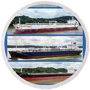 Panama Canal Cargo Ships Round Beach Towel