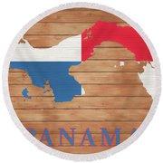 Panama Rustic Map On Wood Round Beach Towel