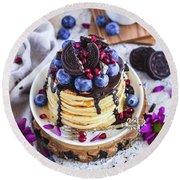 Pancakes With Chocolate Sauce Round Beach Towel