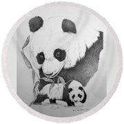 Panda Collage Round Beach Towel