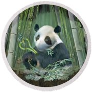 Panda Love Round Beach Towel