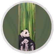 Pandas Fading  Round Beach Towel