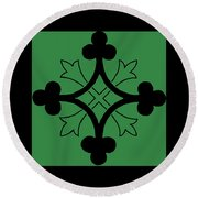Panel - Black And Green Clover Style Greek Cross Round Beach Towel