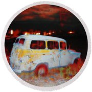 Panel Truck  Round Beach Towel