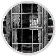 Panes To The Past Round Beach Towel